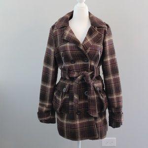 Paris Blues Brown Plaid Pea Coat (L)